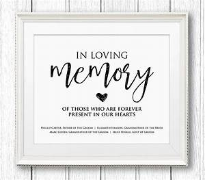 In loving memory wedding sign editable text personalize for In loving memory template free