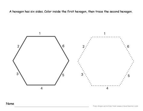 hexagon shape activity sheets  school children