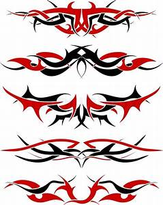 Patterns of black and red tribal tattoo for design use