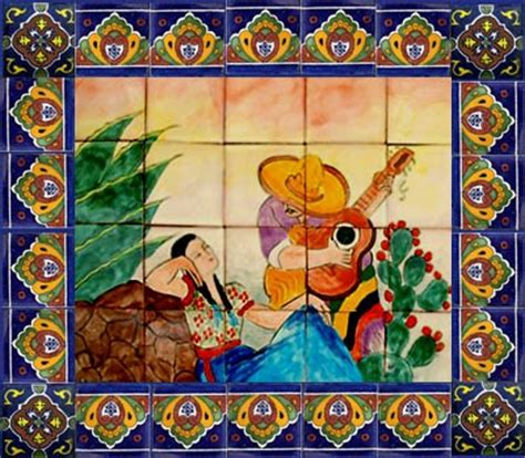 painted tiles mexican mural mexican tiles