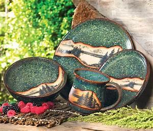Mountain Scene Pottery Dinnerware 4 Pcs