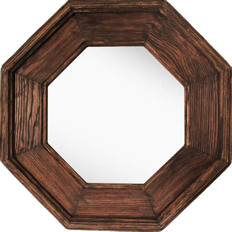wooden octagonal mirror rustic wall mirrors  ptm