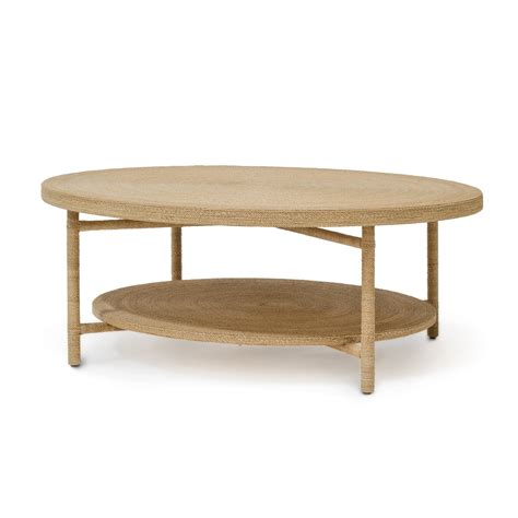 Round Braided Seagrass Coffee Table Mecox Gardens