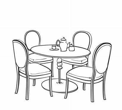 Table Chair Drawing Sketch Cafe Furniture Summer
