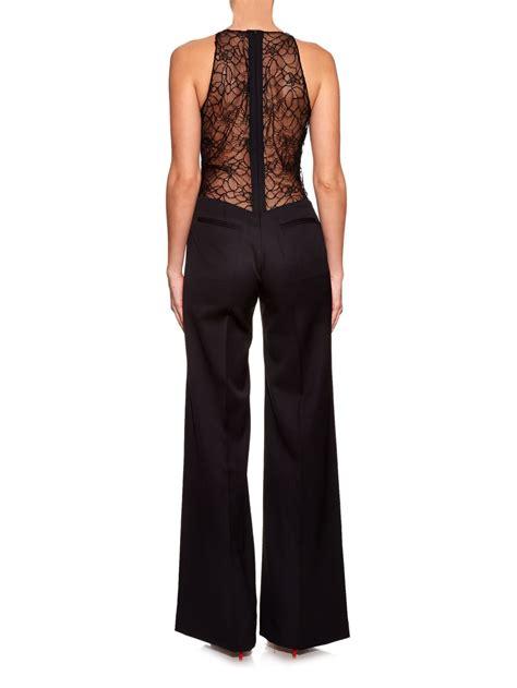 black wide leg jumpsuit la mania rusis lace back wide leg jumpsuit in black lyst