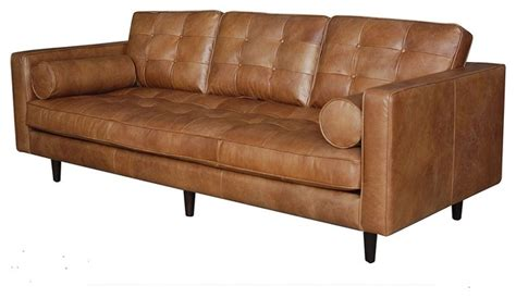 midcentury leather sofa maxwell modern leather sofa midcentury sofas by zin home