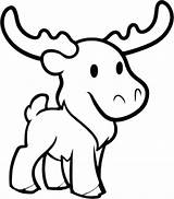 Moose Coloring Cute Print Pages Colouring sketch template
