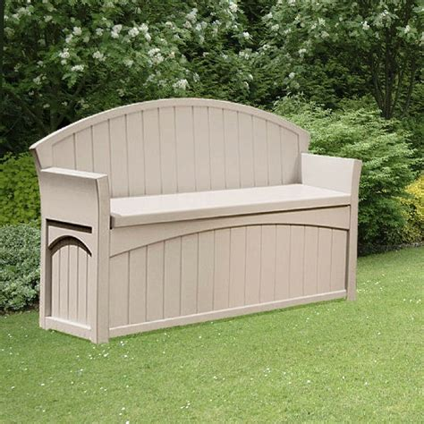 suncast plastic large patio deck box with seating 5 x 2
