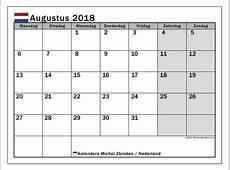 Kalender augustus 2018, Nederland Michel Zbinden NL
