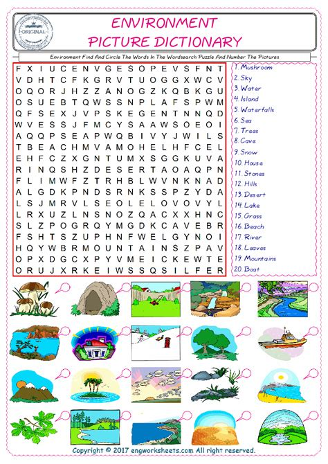 environment esl printable picture english dictionary