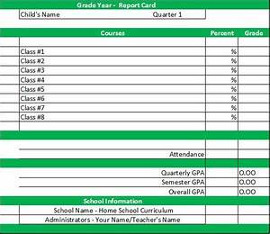 report card template homeschool middle school With high school report card template word