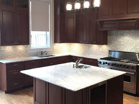 kitchen tiles pics white carrara marble countertop with white mosaic tile 3350