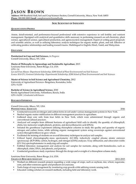 Scientist Resume For Industry by Science And Research Resume Exles