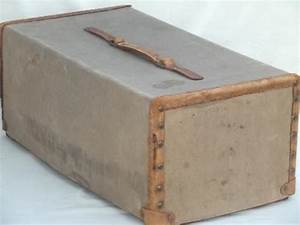 vintage 1920s 30s leather trimmed canvas document box or With leather document box