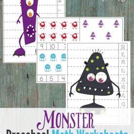 monster preschool math worksheets  images
