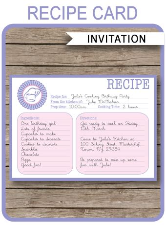 cooking recipe card invitations template birthday party