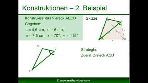 allgemeine vierecke konstruieren bezeichnungen im viereck