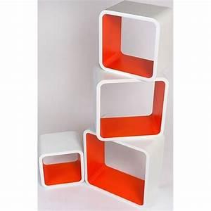 Etagere Cube But : etag re design cubes oranges et blancs couleur achat vente etag re murale etag re design ~ Teatrodelosmanantiales.com Idées de Décoration