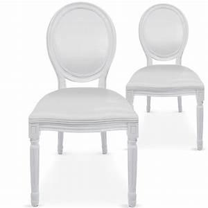 Chaise Medaillon Blanche : chaises m daillon bois blanc assise simili blanc ~ Teatrodelosmanantiales.com Idées de Décoration