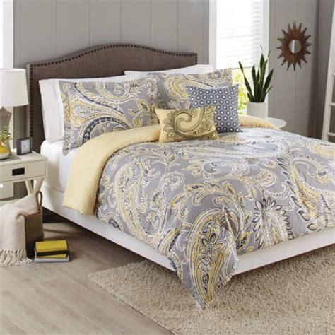 better homes and gardens 5 bedding comforter set yellow grey paisley walmart com
