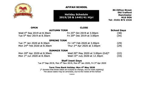 calendar afifah school