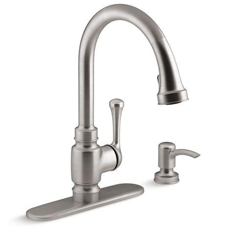 kohler carmichael single handle pull  sprayer kitchen faucet  stainless steel   sd
