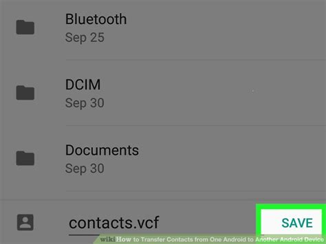 how to transfer contacts from one android to another android device