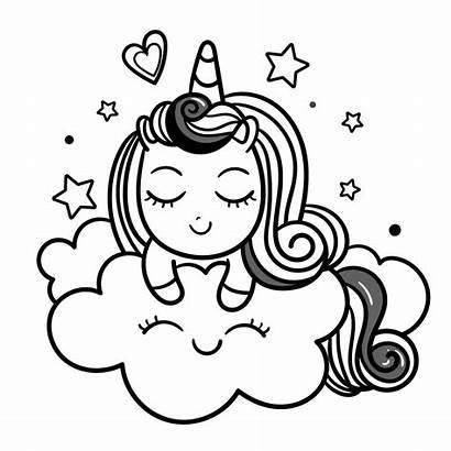 Unicorn Coloring Kawaii Cloud Momlifehappylife Dibujos Unicornios