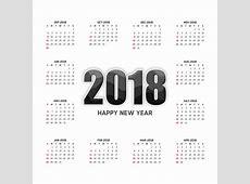 Calendário 2018 modelo de design vetorial ano Estilo de
