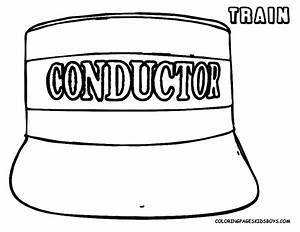 Steel wheels train coloring sheet yescoloring free for Conductor hat template