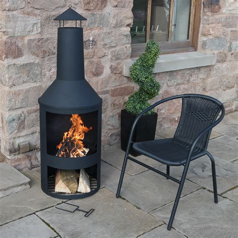 4ft 4 quot extra large chimenea black fire pit burner patio