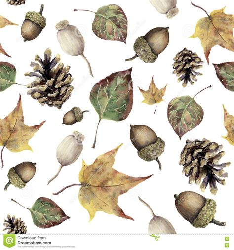 watercolor autumn forest seamless pattern hand painted