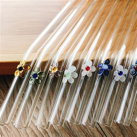 Be honest, am i crazy? 2PC New Glass Straw 10 Colored Creative Flower Straw Glass ...