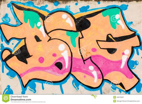graffiti  orange pink green  blue texture big