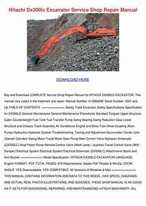 Hitachi Dx300lc Excavator Service Shop Repair By Rossie