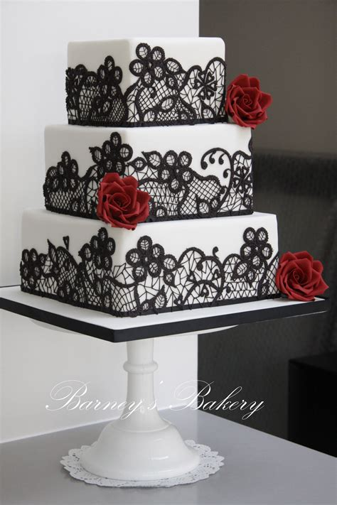 Square Wedding Cakes Black Red And White Wedding Cake