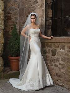 Satin sweetheart mermaid wedding dress ideal weddings for Satin mermaid wedding dress