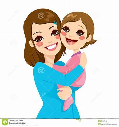 Mother Daughter Clipart Hugging Holding Mom Laughing