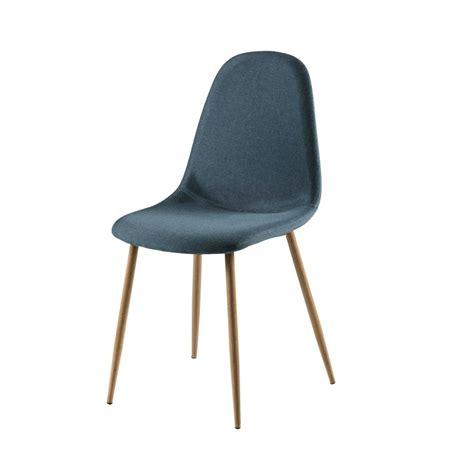 chaise en tissu chaise en tissu bleu jean clyde maisons du monde