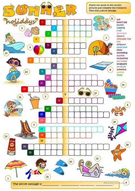 summer holidays crossword worksheet free esl printable worksheets made by teachers