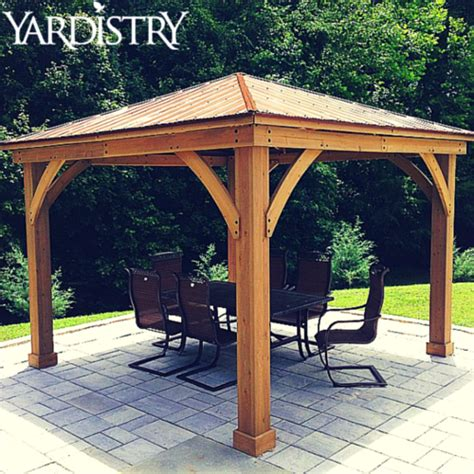 wooden pergola with roof our wood gazebo with aluminum roof is made of 100 premium cedar lumber and is essential for any