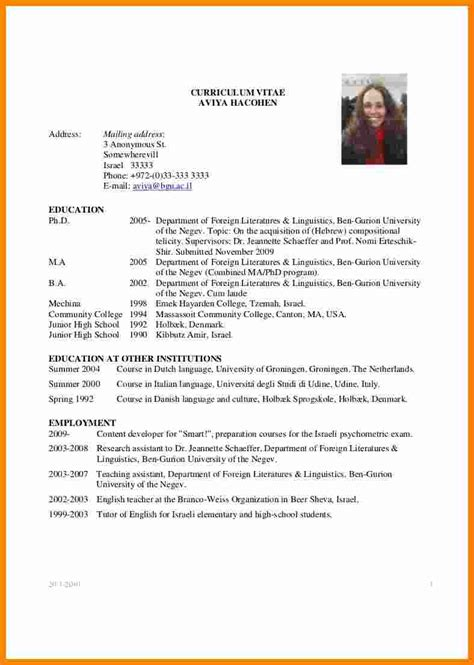 Cv Application Template by 8 Cv Sle For Scholarship Application Theorynpractice