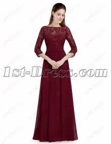 bridesmaid dresses with sleeves modest burgundy lace 1 2 sleeves prom dress 1st dress