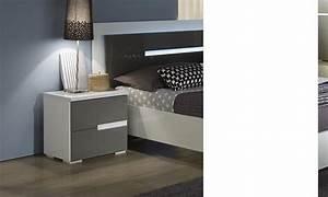 Table De Chevet Design : table de chevet gris et blanc design ombrine ~ Teatrodelosmanantiales.com Idées de Décoration