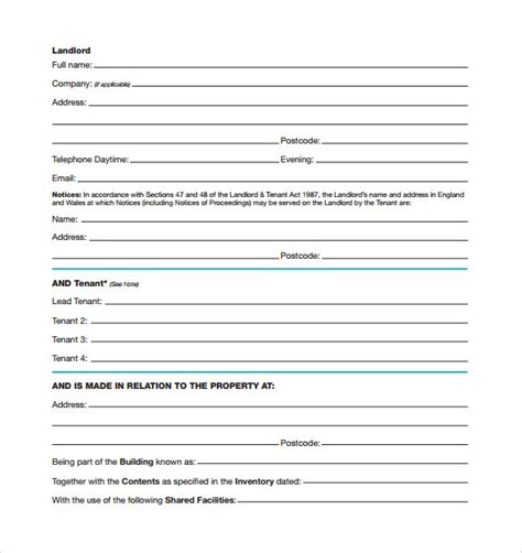 standard rental agreements samples examples format