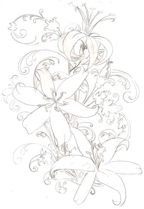 azuzena flower template tiger lily flower tattoo 6 by metacharis on deviantart
