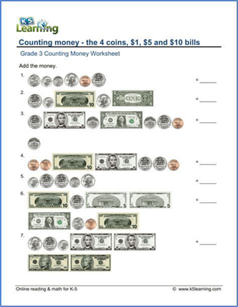 grade 3 math worksheet counting money k5 learning