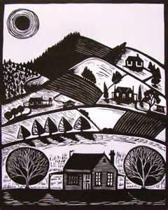 Linocut Landscape Prints