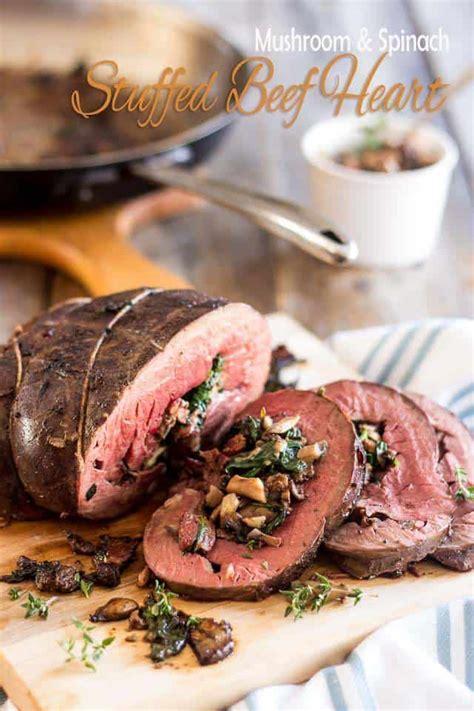 mushroom  spinach stuffed beef heart  healthy foodie