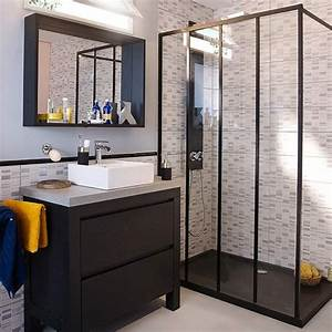 paroi de douche fixe 120 cm noir zenne castorama With porte de douche coulissante avec vasque originale salle de bain